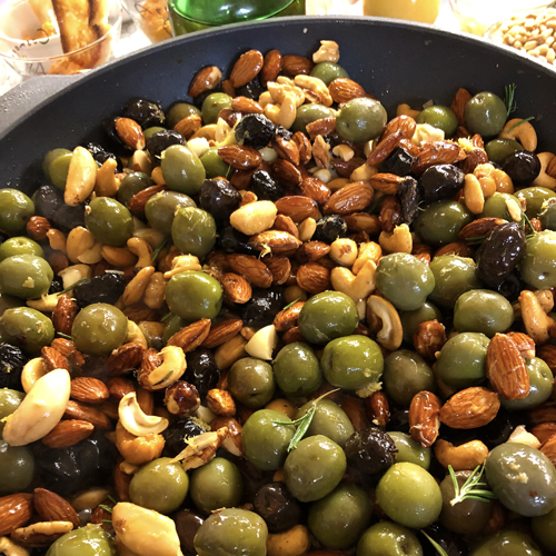 Warm Nuts & Olives with Romesco Sauce