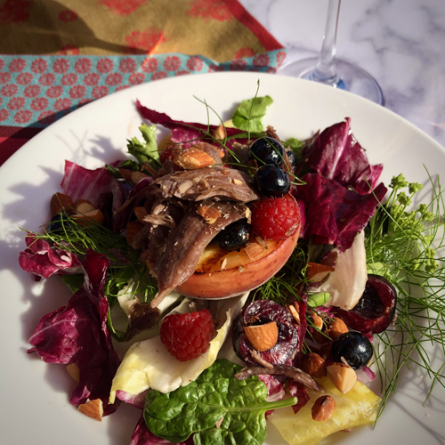 Duck Confit with Grilled Peaches, Radicchio & Cherry Balsamic Dressing