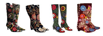 A Selection Vintage Velvet Tapestry Boots by Edoche
